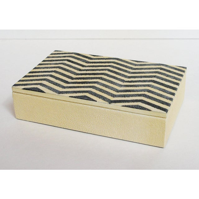 Ivory and black Shagreen box with zigzag pattern and gray suede interior Depth: 5 inches / Width: 8 inches / Height: 2...