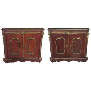 Pair of French Gilt Bronze-Mounted Cabinets, 19th Century For Sale