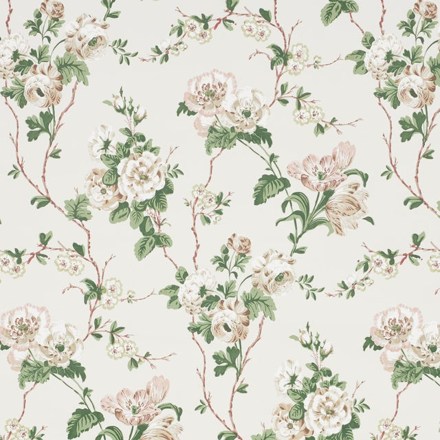Sample - Schumacher x Veere Grenney Betty Wallpaper in Quiet Pink For Sale