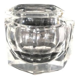 1970s Italian Alessandro Albrizzi Diamond Cut Lucite Ice Bucket