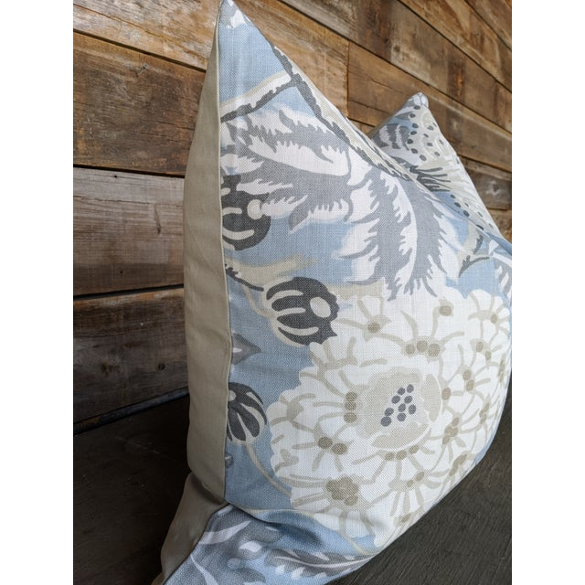 Boho Chic Mitford Floral Gray and Blue Pillow Cover For Sale - Image 3 of 4