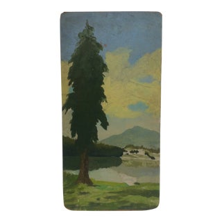 """Original Painting on Board, """"Lone Tree"""" - Artist Unknown For Sale"""