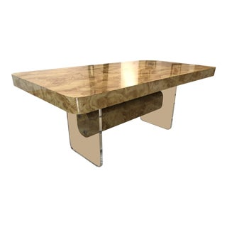 Faux Burl Wood and Lucite Dining Table For Sale