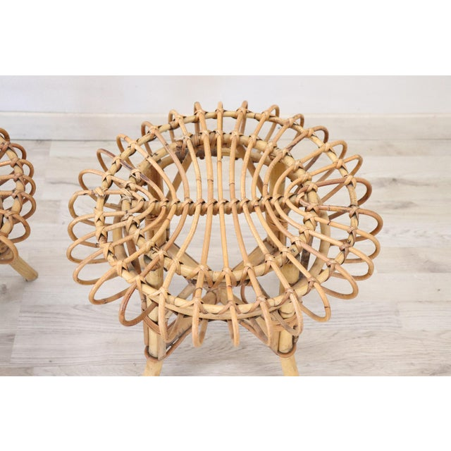 20th Century Italian Bamboo and Rattan Living Room Set of 4 Pieces, 1960s For Sale - Image 10 of 13