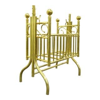 Vintage Victorian Brass Infant Cradle For Sale
