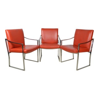 Set of Three Red Orange Chromed Steel Armchairs Bert England For Sale