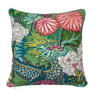 Chinoiserie Schumacher Chiang Mai Dragon Pillow in Jade For Sale