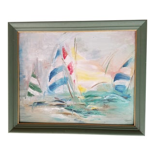 Vintage Signed Original Painting of Sailboats by G. Gregory