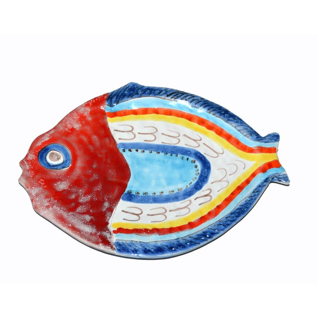 Italian Giovanni Desimone Hand Painted Pottery, Fish Platter, Serving Plate For Sale - Image 11 of 12