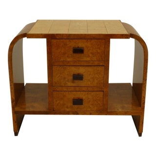 French Art Deco Burl Maple End Table For Sale