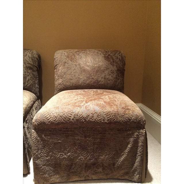 Velvet Damask Slipper Chairs - A Pair - Image 7 of 7