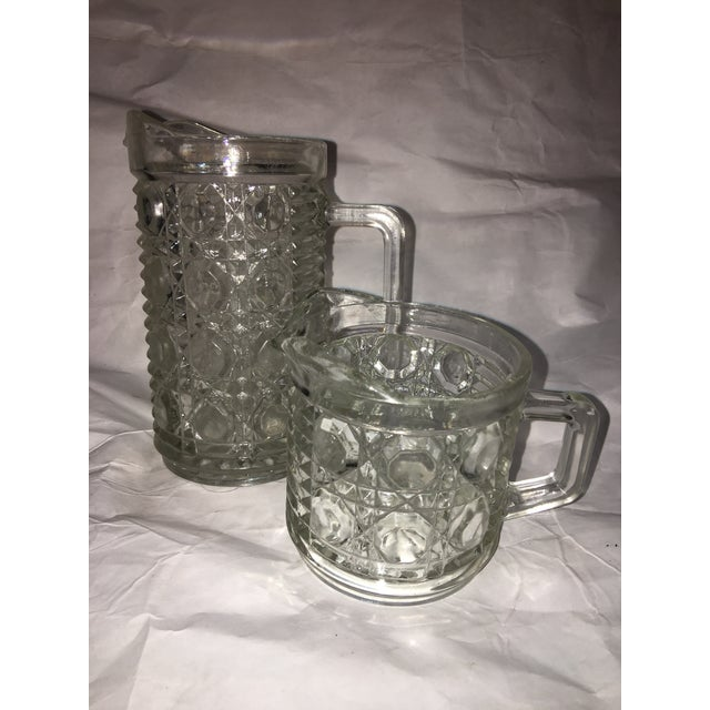 Antique Hobnail Glass Pitcher & Creamer - A Pair - Image 5 of 10