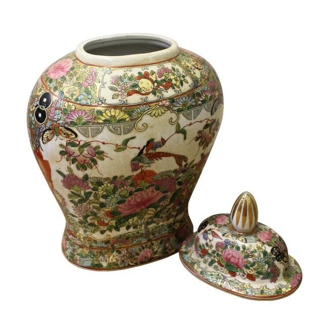 Chinese Oriental Famille Rose Porcelain People Scenery Flat Jar For Sale - Image 4 of 6