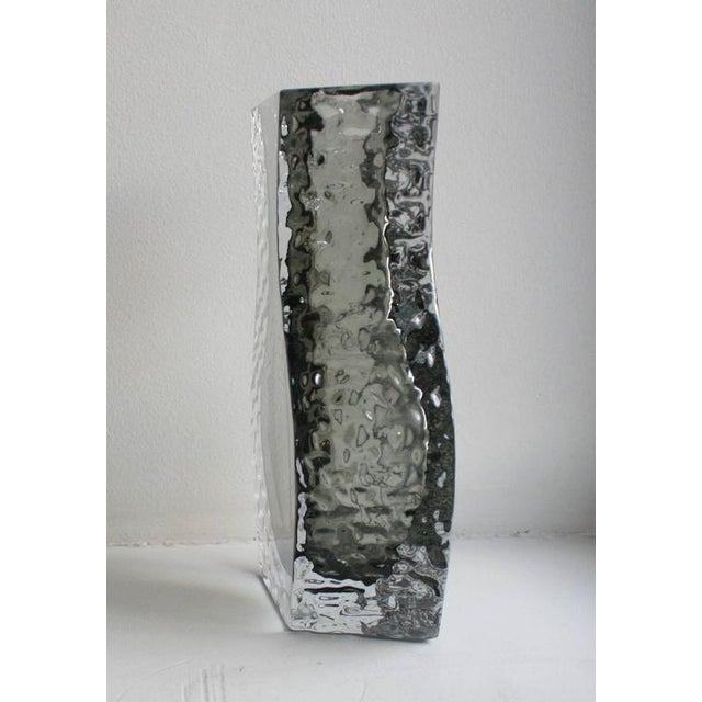 A beautiful large Mid-Century art glass vase by Alessandro Mandruzzato for Cavagnis. Designed in a 'Sommerso' textured ice...