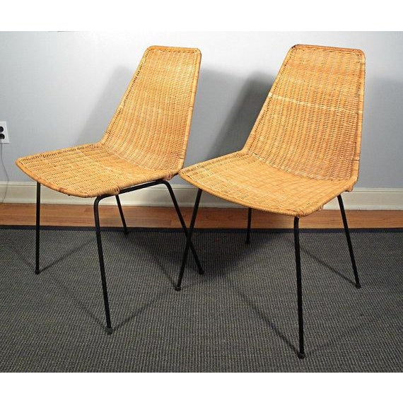 Vintage Mid-Century Modern Wicker Chair With Iron Legs - Pair - Image 8 of 8