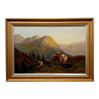 """Stanley Graham """"Cattle in a Scottish Landscape"""" Oil Painting, 19th Century For Sale"""