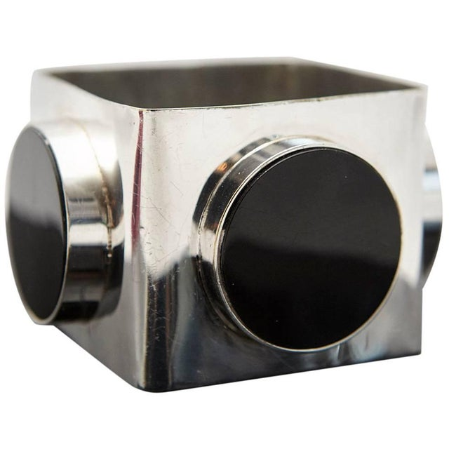 Metal Large Square Silver Bangle With Three Circular Onyx Stones, Circa 1970s For Sale - Image 7 of 7