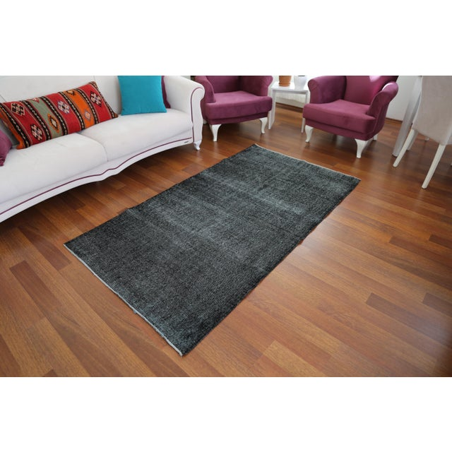Vintage Turkish Bohemian Hand Knotted Black Wool Living Room Rug - 3′11″ ×  7′1″