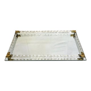 Vintage Rectangle Mirrored Tray With Brass Corners