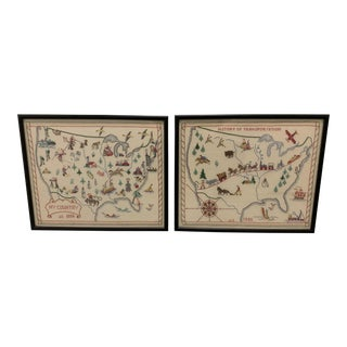 Pair of 1956 Framed Crewelwork United States Maps For Sale