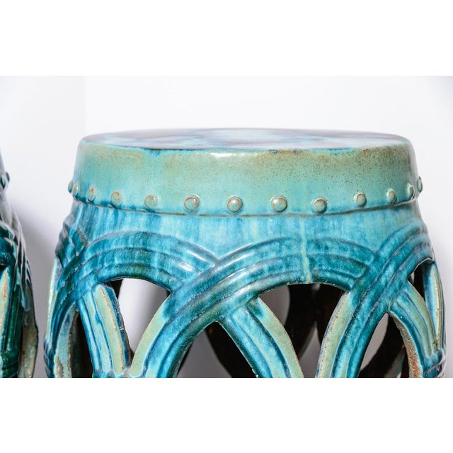 Fabulous pair of Old LargeChinese Green & Blue Glazed Terra Cotta Garden Stool. This barrel pair has a flamed Glaze...