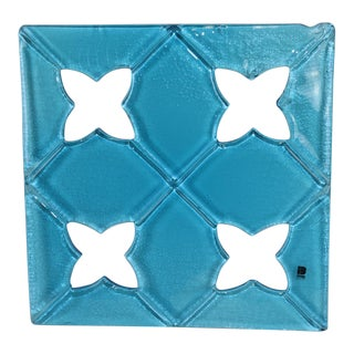 "1980s ""Damasco"" Itre Murano Hand Cast Glass Tile Aquamarine For Sale"