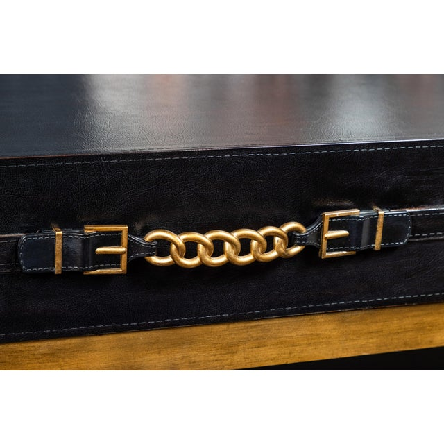 Vintage Leather and Metal Console Table For Sale - Image 4 of 9