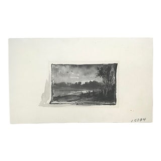 1920s Vintage Miniature Landscape Ink Wash and Watercolor on Paper For Sale