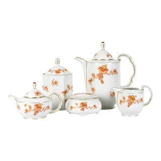 Vintage European Porcelain Tea/Coffee Service - 5 Piece Set For Sale