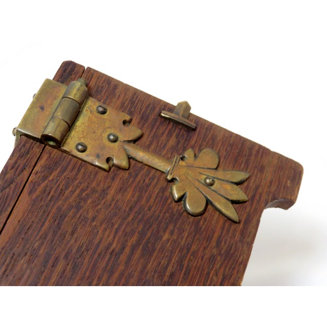 Early 20th Century Antique Arts & Crafts Oak and Bronze Box For Sale - Image 9 of 13