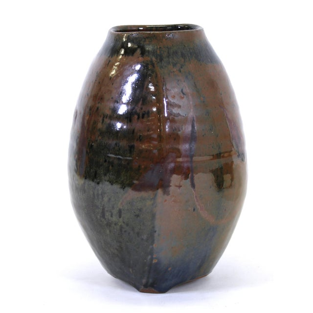 Japanese Mid-Century Modern Studio Pottery Vase For Sale - Image 4 of 9