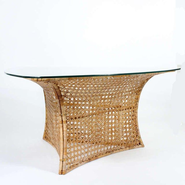 Danny Ho Fong Danny Ho Fong Cane Triangular Shaped Dining Table For Sale - Image 4 of 10