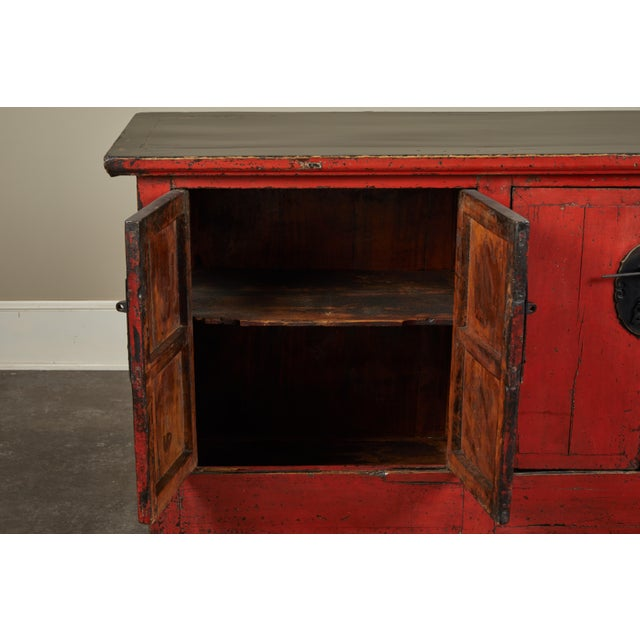 Elm 18th Century Chinese Elm 4-Door Side Cabinet For Sale - Image 7 of 11