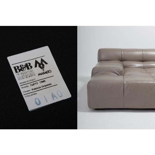 Animal Skin Tufty Time B&b Italia Taupe Leather Sectional Sofa by Patricia Urquiola For Sale - Image 7 of 11