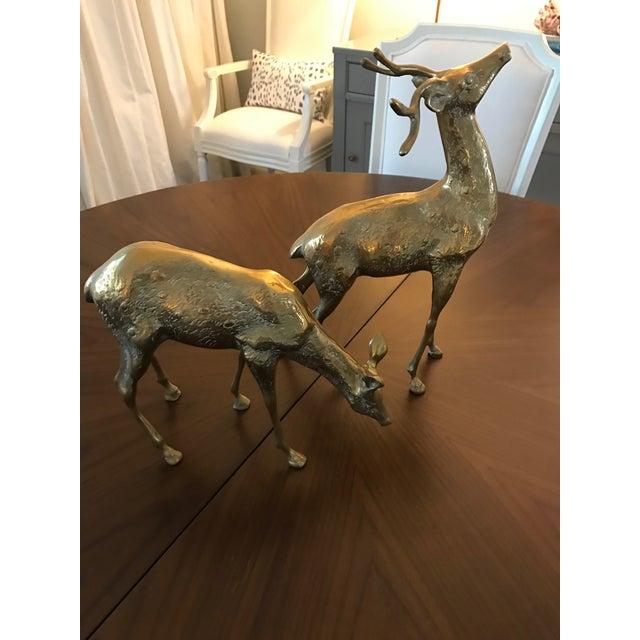 Vintage Brass Deer Figurines - A Pair - Image 2 of 6