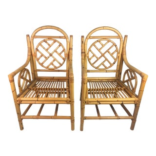 Vintage Chippendale Rattan Chairs - a Pair For Sale