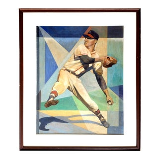 Original Midcentury Painting of Baseball Pitcher Warren Spahn For Sale