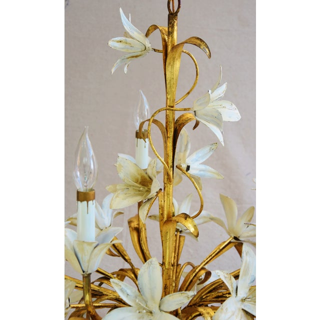 Vintage Five-Arm/Light Italian Gold Gilt Lily Tole Chandelier For Sale - Image 9 of 11