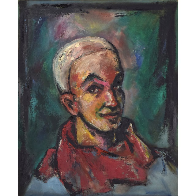 Nik Krevtisky (American, 20th Century) Cool abstracted portrait of a smiling man dressed as a circus clown in the pierrot...