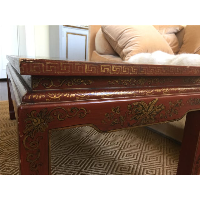 Chinoiserie Red Lacquer Cocktail Table - Image 5 of 7