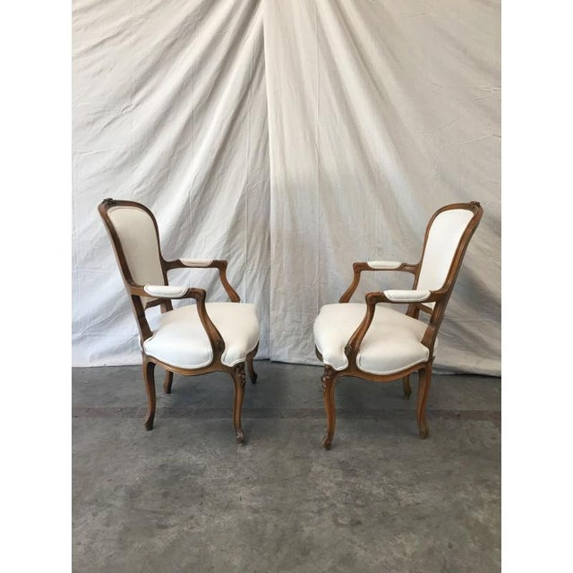 Louis XV White Linen Walnut Armchairs - A Pair For Sale In Austin - Image 6 of 8