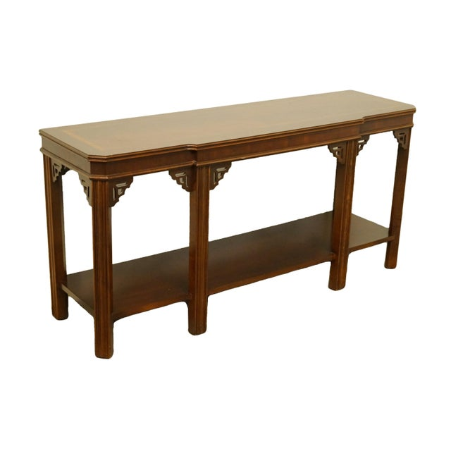 "Lane Furniture Altavista VA bookmatched banded mahogany Mediterranean style 54"" accent sofa / console table. We specialize..."