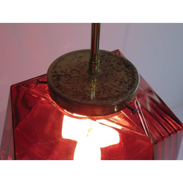 Geodesic Cranberry Colored Light Pendant Mid Century Modern For Sale - Image 4 of 11