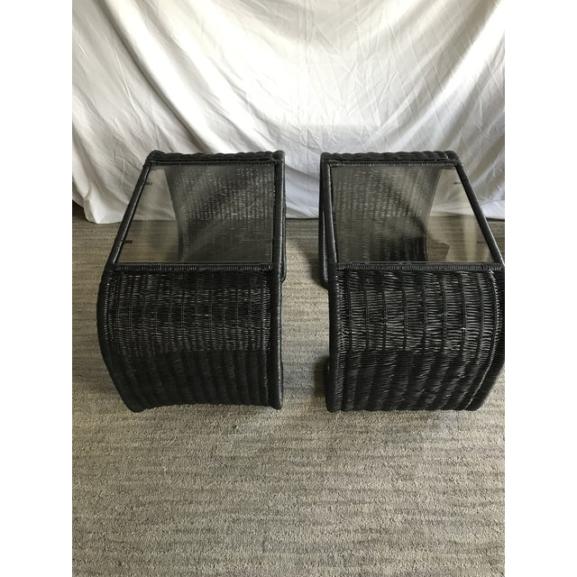 In good condition. These were org natural wicker color.. previous owners painted them black, so we washed them and...