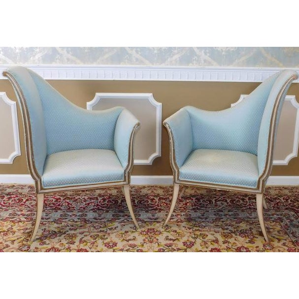 Mirrored French Louis 1950s Hallway Chairs - Pair - Image 3 of 9