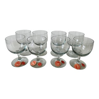 Vintage 1950s Holmegaard Denmark Elsinore Smoke Glass Cordials Stemware - Set of 8 For Sale