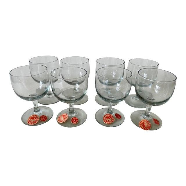 Vintage 1950s Holmegaard Denmark Elsinore Smoke Glass Cordials Stemware - Set of 8 For Sale