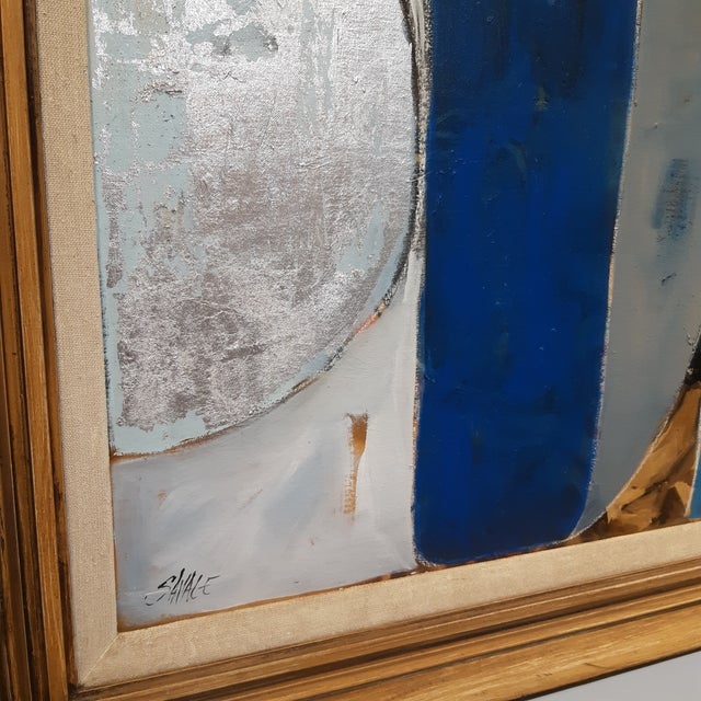 Large abstract by Palm Springs artist Shawn Savage. Painting in vintage frame perfect for that. mid-century modern look.