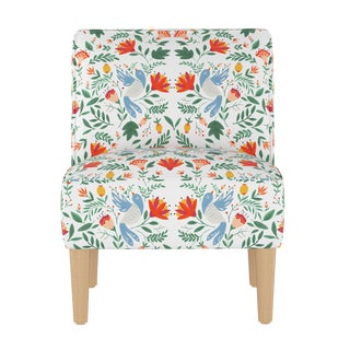 Armless Chair in Nordic Bird White Oga For Sale