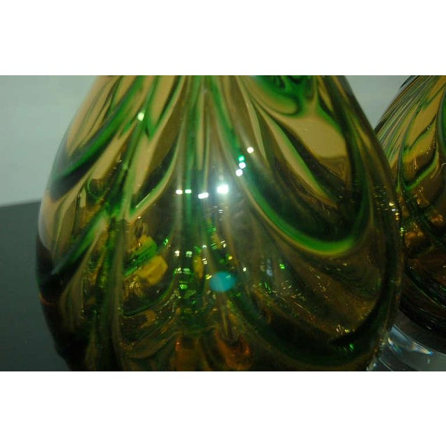 Gold Vintage Murano Glass Table Lamps Gold Green For Sale - Image 8 of 9